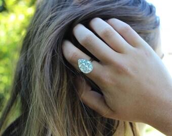 Silver Glitter Adjustable Teardrop Ring.