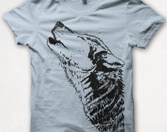 Kids Tshirt Howling Wolf Shirt Boys Graphic Tee Girls Shirt Screenprinted Childrens Clothing - Pale Blue