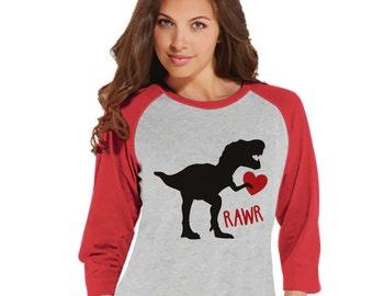 Ladies Valentine Shirt - Womens Dinosaur Valentines Day Shirt - Valentines Gift for Her - Dino Love Happy Valentine's Day - Red Raglan