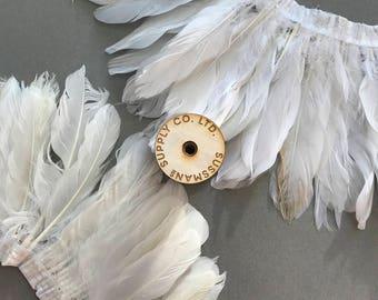 """Feather Trim - Wedding/Bridal Goose Satinette Feather Fringe Trims - White or Ivory - 5""""-7"""" (1 yard)"""