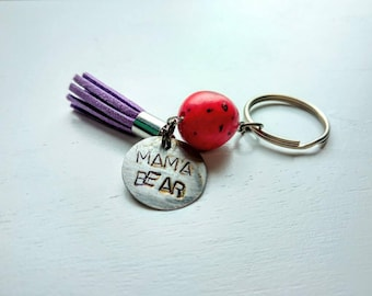 Tassel keychain. Mama bear. Red. Purple. Hand stamped. Personalized. Feather. Mimi keychain. Zipper pull. Hot pink. Purse bling. Keyring