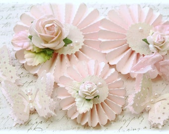 Handmade Shabby Chic Rosette Flowers with Butterflies Embellishment for Scrapbooking, Cardmaking