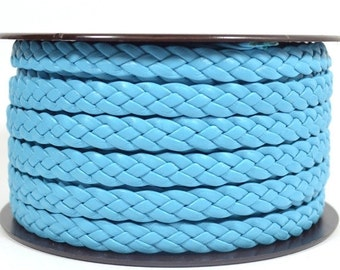 10mm Flat Braided Leather - Powder Blue - 10MFB-9 - Choose Your Length