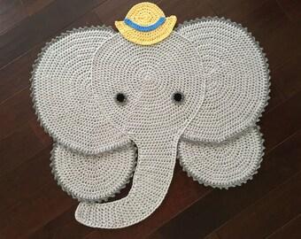 "40"" Crochet Elephant rug, Elephant Rug,crochet rug"