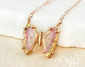 Rose Gold Pink & Yellow Tourmaline Butterfly Necklace - Butterfly Jewelry - Rare Tourmaline