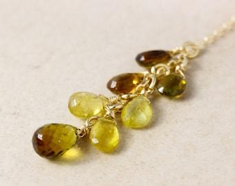 Gold Multi-Tourmaline Cluster Necklace - Drop Necklace - Drop Pendant, Yellow Tourmaline, Green Tourmaline