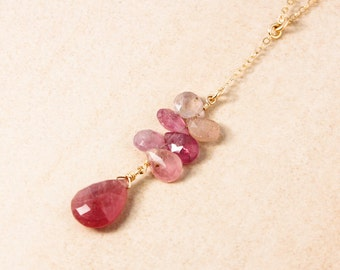 Gold Pink Sapphire Y Necklace - Lariat Necklace - Gold or Silver