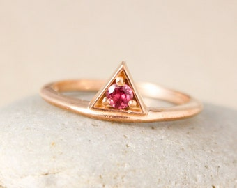 Geometric Birthstone Ring - Stackable Birthstone Ring - Triangle Ring