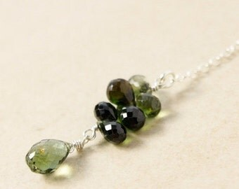 CHRISTMAS SALE Green Tourmaline Lariat Necklace - Y Necklace - Drop Necklace, Gold or Silver