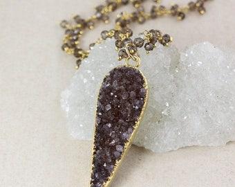 50% OFF Leaf Druzy Necklace – Citrine – Smokey Quartz Chain