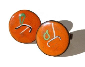 Vintage Enamel Cufflinks 60s Modernist Copper & Orange Abstract