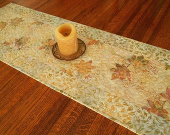 Quilted Fall Table Runner with Leaves in Soft Shades of Gold Brown Green Pink, Batik Table Runner, Dresser Runner, Dining Table Decor