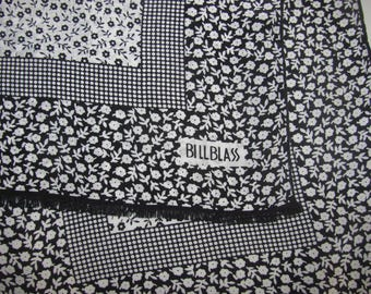 Vintage Bill Blass Long Silk Scarf - Black and White Floral Pattern, Tiny Flowers - Classic Look Rectangular Scarf