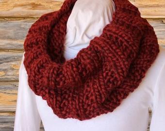 Knitting Pattern for Cowl, Chunky Knit Cowl Patterns, Mega Chunky Knit Cowl, Circular Knitted Cowl Tutorial, Chunky Yarn Design