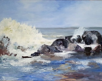 Crashing Waves #4: original painting of waves crashing at the jetty. One of a series of paintings reflecting the wild pre-storm ocean waves
