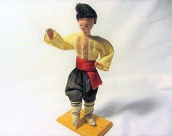 Antique Paper Mache Dancing Mounted Male Doll Made in Bulgaria, Souvenir Doll, Paper Mache Man, One Of a Kind Hand Crafted Doll