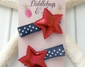 Red Star Hair Clips, Girls Patriotic Hair Clips, Nautical Hair Clips, Toddler Hair Clip, Star Hair Clips, Girl's Star Clips, Holiday Clips