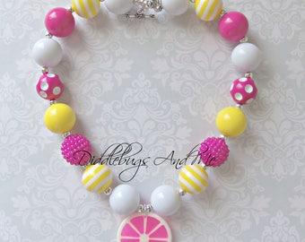 Pink Lemonade Chunky Necklace, Girls Bubblegum Necklace,  Bubblegum Necklace, Lemon Bubblegum Necklace, Lemonade Chunky Necklace