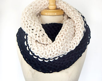 SAMPLE SALE - Color Block Infinity Scarf in Cream/Navy Blue - Blanket Scarf, Clearance, Giant Scarf