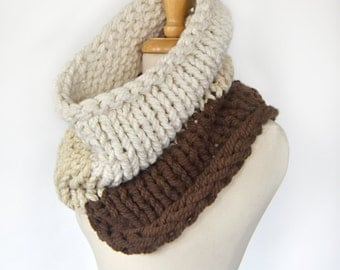 SAMPLE SALE - Ombre Chunky Infinity Scarf - Cream/Beige/Brown - Clearance, Giant Scarf, Sale, Winter, Warm