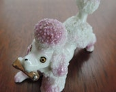pink spaghetti poodle figurine 50s puffy poodle dog figure Japan shelf sitter