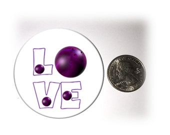 Love Bowling Refrigerator Magnet 2 1/4 inches in diameterPurple Bowling Ball