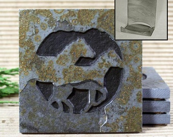 Etched Natural Stone Coaster Set with Holder - Horses / Mustansgs on Copper Slate