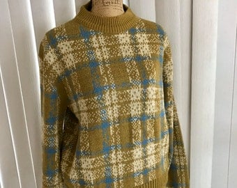 Vintage Guys Wintuk Fruit of the Loom 1960's Plaid Pullover Sweater - Hip Colors - Size L