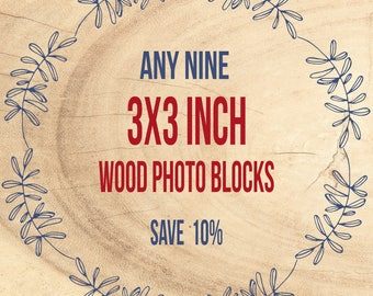 Save 10% - Wood Art, Photograph on Birch, Block Photography, Wall Art Decor - Mounted Photo Print, 3x3 inch, Ready to Hang, Mounted Prints