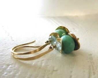 Mint Green Earrings, Green Chrysoprase Earrings, Gold Earrings, Gemstone Earrings, Seafoam Earrings, Natural Stone Earrings - Golden Spring