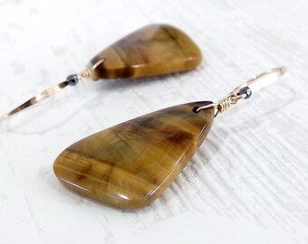 Tiger's Eye Earrings, Brown Earrings, Gold Earrings, Tiger Eye Gemstone Earrings, Long Earrings, Natural Stone, Earthtones - Norwegian Gold