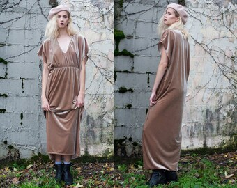 Painterly Champagne Velvet Relaxed Fit Gown Kaftan Dress XS S M L XL XXL