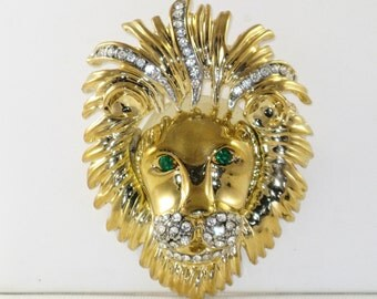 Vintage Very Large Gold Tone Rhinestone Lion Face Brooch Pin (B-2-6)