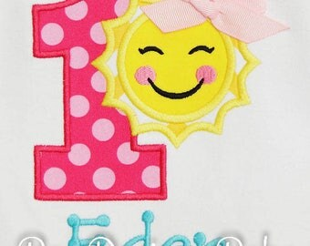 Sunshine Birthday Shirt, Sun Birthday Bodysuit, Sun First Birthday, Any Age, You Pick Fabrics