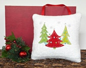 Christmas Trees Door Hanger Pillow White Red Lime Green Turquoise Silver Snowflakes Decorative Repurposed