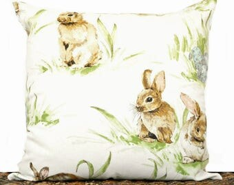 Easter Bunny Pillow Cover Cushion Eggs Brown Turquoise Green Ivory Beige Decorative Repurposed 16x16