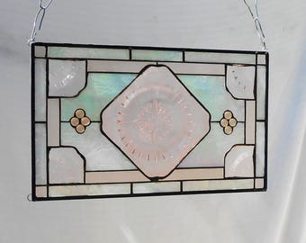 Pink Depression Glass Stained Glass Panel, 1930s Adam Plate, Stained Glass Transom Window, Antique Stained Glass Window Valance, Vintage Art