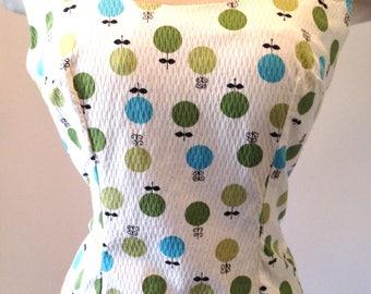Vintage 50s Waffle Weave Cotton Piqué Blouse 36 bust Top Shirt