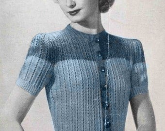 1940's vintage knitting pattern - Button-up jumper in two colors