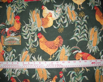 100 per cent  Cotton Fabric BTY 45 inch Hunter Green Roosters/Chicks  FREE SHIPPING