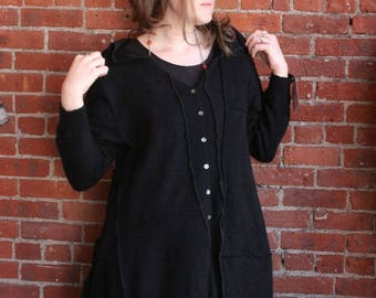 Long Hooded asymetrical button down hooded sweater- witchy plus size- free size- long duster cardigan- 100 percent cashmere- black- xl- xxl