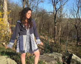 Upcycled women's clothing- hoodie- blue cotton striped sweatshirt - plus size- extra large- zip front- flared sleeves- empire waist-hippie