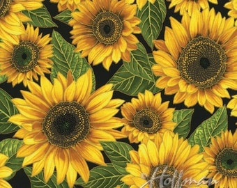 Hoffman - Falling for You - Sunflowers - Black Gold - Fabric by the Yard P7604-4G