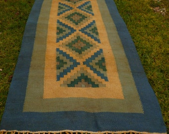"Blues, mustard yellow Hand woven  flatweave Runner/Rug/Kilim/Tapis  5 ft  x 2 ft 8""  152 x 81 cm"