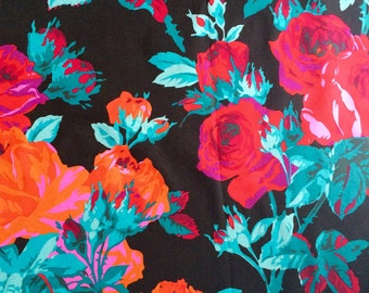Philip Jacobs English Rose, black, Kaffe Fassett OOP, rare, Rose Floral fabric, half yard