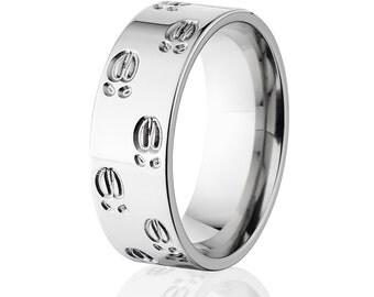 Elk Track Titanium Ring, Titanium Bands, Men's Rings, Titanium Rings: 8F-ElkTrackO