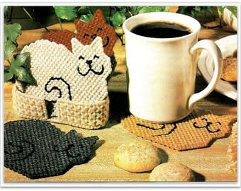 Plastic Canvas Cat Coaster and Coaster Holder Pattern - PDF Pattern 10131428 - Smiling Cats