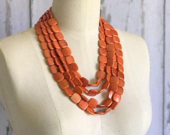 Orange Chunky Necklace, Multi Strand Necklace, Orange Chunky Necklace, Statement Necklace, ACRYLIC Necklace