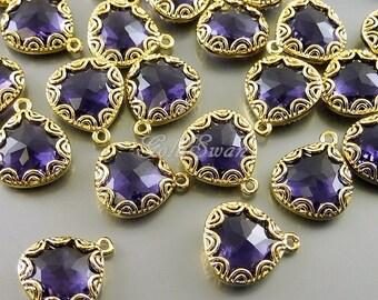 2 amethyst purple fancy lace rim framed glass pendants, jewelry making supplies, teardrop charms 5045G-AM