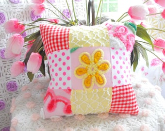 COUNTRY COTTAGE HOME Decor Vintage Chenille Patchwork Pillow